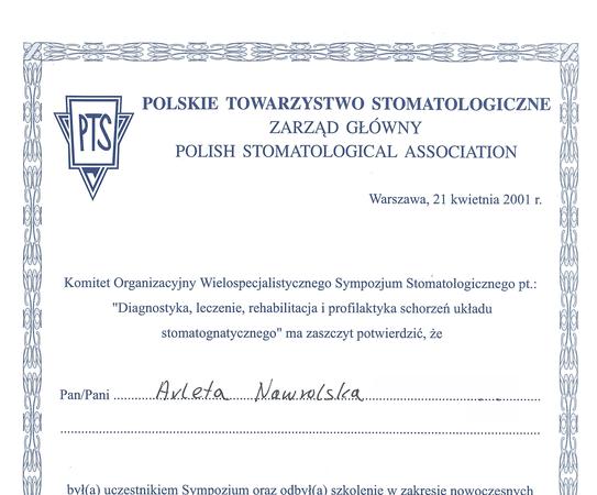 Arleta Nawrolska - certyfikat (2)